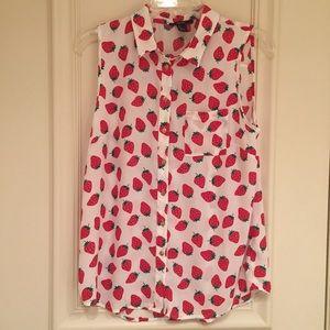 Strawberry Sleeveless Button Down Blouse